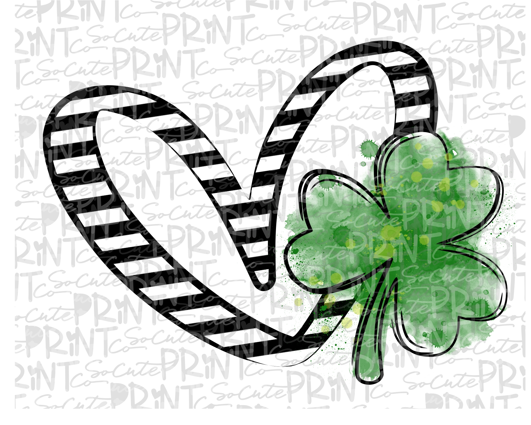 Watercolor St Shamrock Clipart for Digital Download Sublimation and Printables Patrick/'s Day PNG
